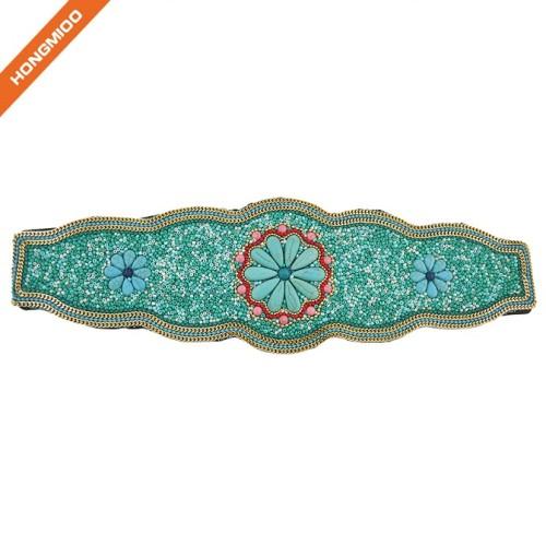 Faux Leather Women Cinch Belts Luxury Beaded Obi Waistband
