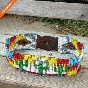 Women Beaded Full Glass Bead Waist Belt Elastic Body Wide Belts