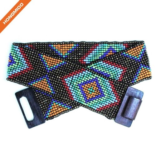 Mix Color Hand-Made Elastic Stretchy Beaded Bali Belt With Wooden Hook Buckle