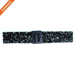 Hongmioo Women's Stretch Beaded Chevron Pattern Belt Adjustable Elastic Belts