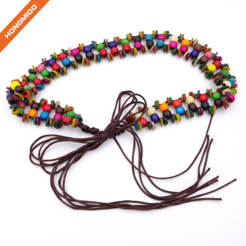 Bohemia Style Wax Rope Beaded Long Tassel Belts Wooden Bead Belt