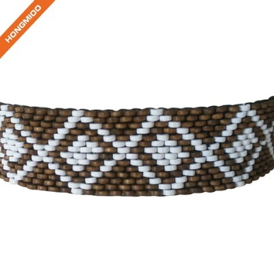 Women Fashion Elastic Beaded Belt Stretch Wood Beads Big Wooden Buckle