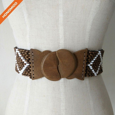 Women Fashion Elastic Beaded Belt Stretch Wood Beads Big Wooden Buckle