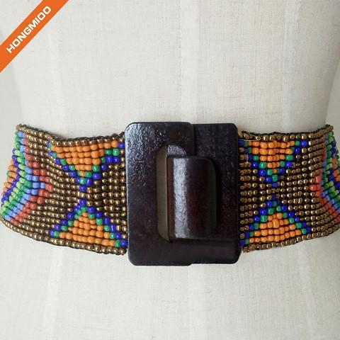 Multicolor Women Wedding Beaded Stretch Belt With Big Wood Buckle