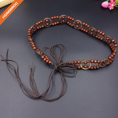Women Braided Wax Rope Beaded Bead Sash Stretch Waist Belt
