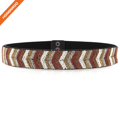 Women's Fashion Crystal Mosaic Wide Belt All-Match Simple Folk Style Handmade Beaded Belt