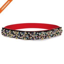 Women's Long Rhinestone Floral Thin Belts Interlocking Beaded Waist Belt
