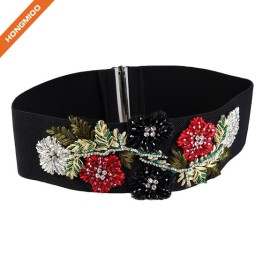 Retro Braided Flowers Design Beaded Women Stretch Obi Waist Belts