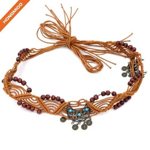 Women Dress Accessory Braided Wax Rope Wooden Bead Belts Simple Cinch Beaded Belt