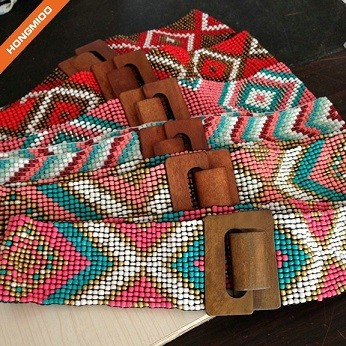 Handmade Four Different Styles Wooden Beaded Belts With Big Wooden Buckles