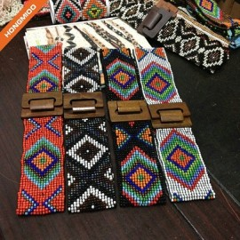 Martinique Style Pure Wooden Beaded Belts Women Wide Customized Elastic Stretch Belt