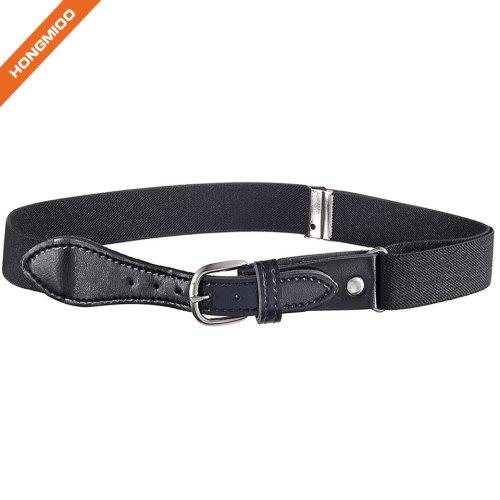 Custom Logo Children Belt Pin Buckle Black Belt For Boy
