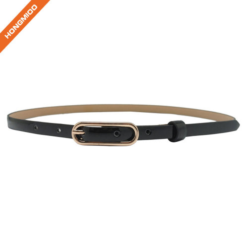Smooth Black Skinny Faux Leather Sunny Belt Girl