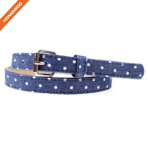 Fashion Blue Girl Belt With White Dot Pattern