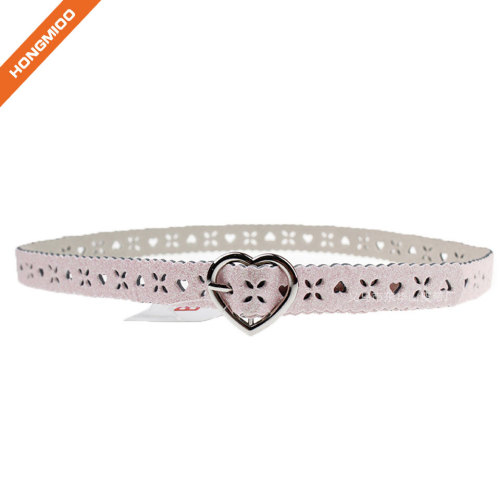 Fashion Hollow Heart Pin Buckle Girls Belt With Your Logo