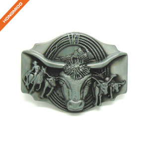 Embossed Bull Western Belt Buckle