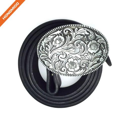 Floral Print Cowboy Style Belt Buckle