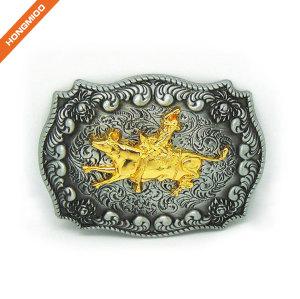 Golden Embossed Cowfight Western Belt Buckle