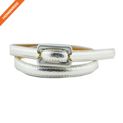 Hongmioo Silver Color Pu Leather Girl Silm Waist Belts