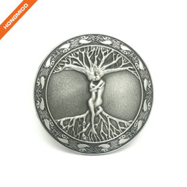Celtic Tree Of Life Roots Branches Round Belt Buckle For Men