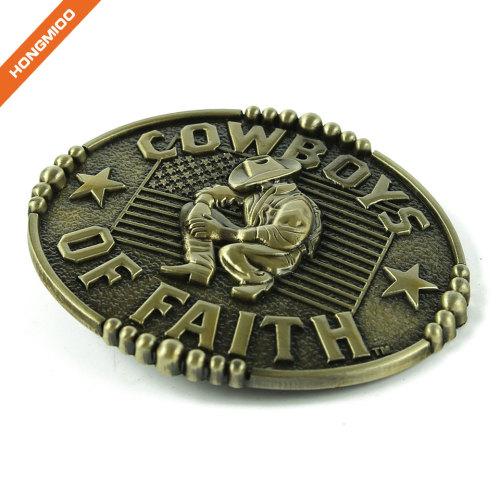 Western Metal Bull Skull Texas Long Horns Cow Dark Silver Buckle