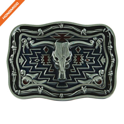 Western Metal Bull Skull Texas Long Horns Cow Dark Silver Buckle