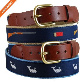 Elastic Stretch Ribbon Waistbelt Hand Made Genuine Leather Strap