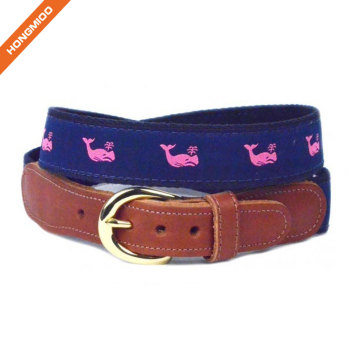 Navy Blue Mens Inlay Ribbon Waist Band Vivid Pattern Split Leather Belts