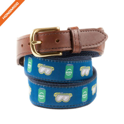 Beautiful Design Pattern Beer Goggles Ribbon Cotton Belt With Pure Cow Hide Leather Belt