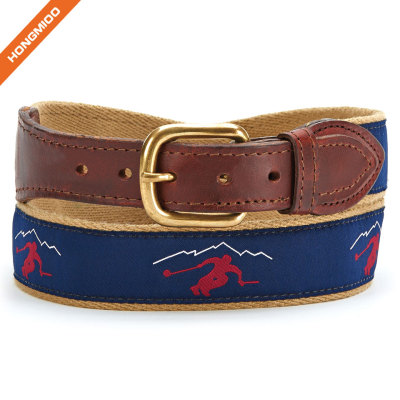 Blue Background Skateboard Sports Mens Real Genuine Leather Ribbon Belts