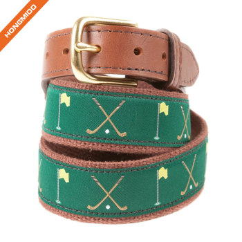Leisure Style Golf Ribbon Mens Genuine Leather Gold Color Buckle Belts
