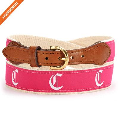 Unisex Split Leather Stitched Strap Single Prong Alloy Buckle Cotton Ribbon Belt