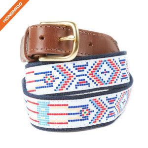 Unisex Split Leather Stitched Strap Single Prong Alloy Buckle Cotton Ribbon Belt