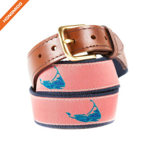 Cute Design Chick Magnet Ribbon Cotton Fabric Belt With Cow Hide Leather Belts