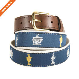 Dark Blue Background Triple Crown Ribbon Cotton Cow Skin Leather Alloy Buckle Belt