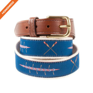 Dark Blue Background Triple Crown Ribbon Cotton Cow Skin Leather Alloy Buckle Belt