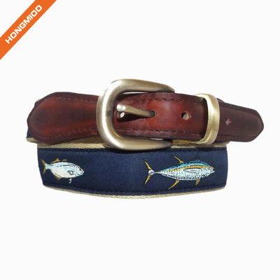 Vivid Fish Pattern Design Retro Split Leather Mens Ribbon Belts