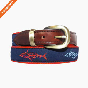 Mix Different Boats Cotton Strap Mens Colorful Brass Buckle Ribbon Belt