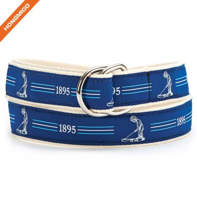 Double D-Ring Soft Fabric Ribbon Belt Mens Leisure Accessory Belts