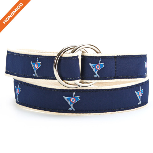 Double D-Ring Soft Fabric Ribbon Belt Mens Leisure Accessory Belts