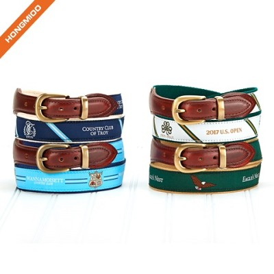 Mens Brown Binding Pure Genuine Leather Ribbon Belts With Single Prong Buckle