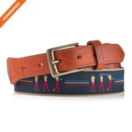 Mens Mix Styles 100% Genuine Leather Ribbon Belts With Zinc Alloy Buckle