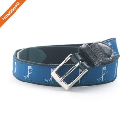 Navy Ribbon Genuine Leather Silver Alloy Buckle Belt With Flags
