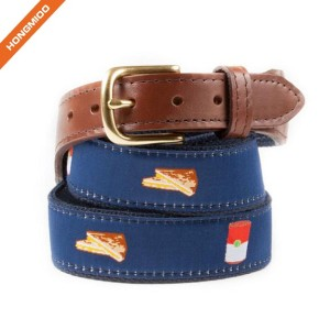 New Design Slogan Bring Your Own Beer Cotton Ribbon Belt With Brown Top Grain Leather Belts