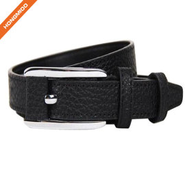 Custom Black Textured Pin Buckle Boy Belt From China