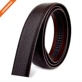 Litchi Pattern Smooth Full Grain Leather Ratchet Belt Strap