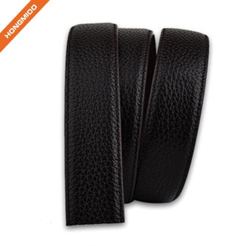 Litchi Pattern Smooth Full Grain Leather Ratchet Belt Strap
