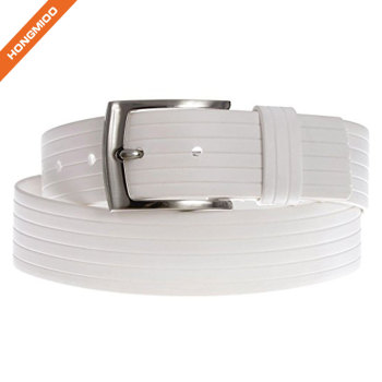 Women's Texture White Alloy Buckle Silicone Belt