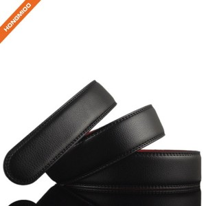 Mix Black And Red Color Mens No Buckle Stitched Lucky Genuine Leather Belt Strap