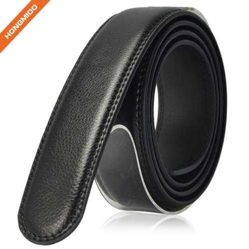 Plain Black Split Leather 3.5cm Wide Mens Ratchet Leather Strap Without Buckle